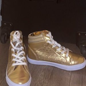 Gold girls High top Disney design shoes